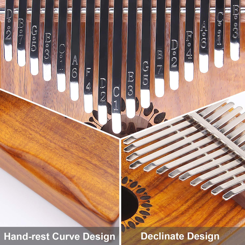Kalimba Thumb Piano 17 Keys, Portable Mbira Finger Piano Gifts for Kids and Adults Beginners