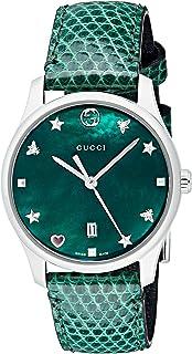 Gucci - Reloj Análogo clásico para Mujer de Cuarzo con Correa en Cuero YA126585
