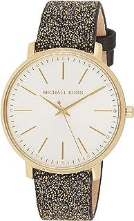 ساعة انالوج بايبر للنساء بمينا باللون الابيض وسوار جلد من مايكل كورس، طراز MK2878