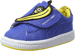 PUMA Infants Minions Basket Wrap Statement, Lapis Blue-Lapis Blue-Minion Yellow, Sneakers