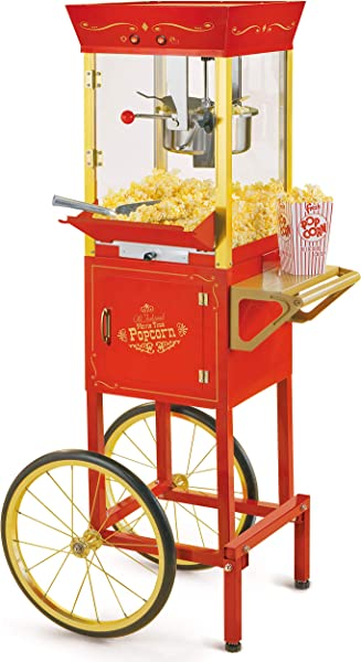 Nostalgia CCP510 Vintage Professional Popcorn Cart New 8 Ounce Kettle 53 Inches Tall Red