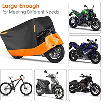 Puroma Motorcycle Cover, XXX-Large Waterproof Motorbike Cover Outdoor Indoor Scooter Shelter Protection with 4 Reflective Strips for Harley Davidson, Honda, Suzuki, Kawasaki, Yamaha (Black & Orange)