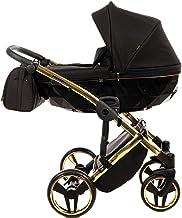 Sistema de viaje 3 en 1, silla de paseo, carrito con capazo y silla de coche y accesorios Junama Diamond S-LINE (02 Schwarz-Gold, 2IN1)