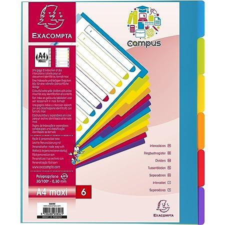 Exacompta - Réf. 3806E - Intercalaires en polypropylène rigide semi-opaques avec 6 onglets neutres Campus - Page d'indexation imprimable - Format à classer A4 maxi - Couleurs translucides