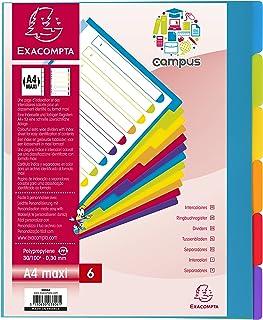 Exacompta - Réf. 3806E - Intercalaires en polypropylène rigide semi-opaques avec 6 onglets neutres Campus - Page d'indexat...