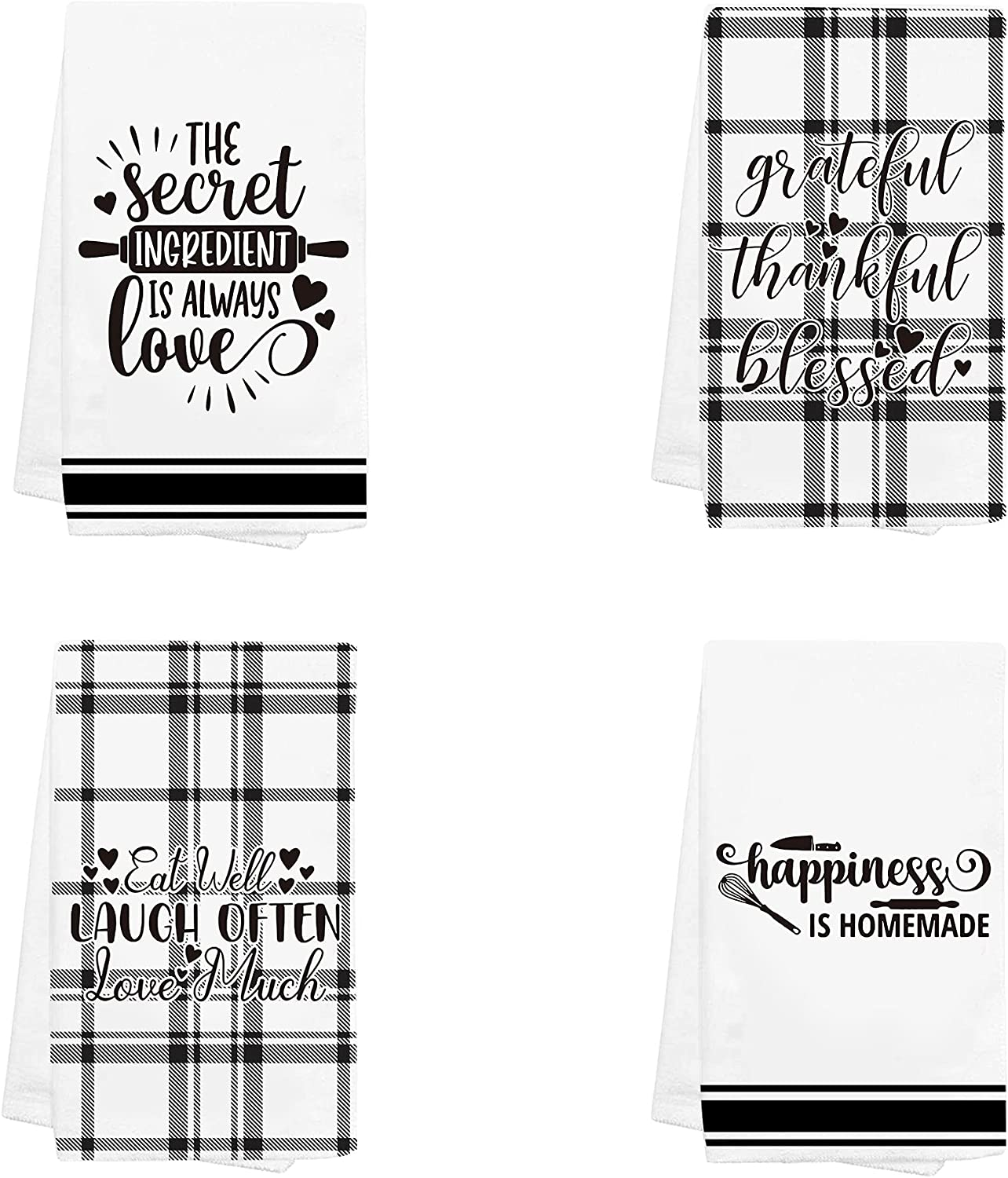 Hexagram Cute Kitchen Towels for Home Decor, Set of 4 Dish Towel with Printed Design, White and Black Hand Towel for Tea Coffee Bar, House Warming Present for New Home Valentines Mothers Day Birthday