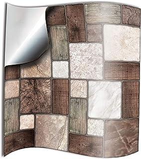 24x mosaico de mármol Lámina impresa 2d PEGATINAS lisas para pegar sobre azulejos cuadrados de 15cm en cocina, baños – resistentes al agua y aceite, Azulejos decorativos (NTP0-M.Mosaic-6