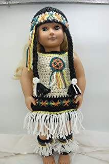 Native American Costume 18'' Doll Clothes - Doll Accessories - Handmade Doll Clothes - Fits 18'' American Girl Dolls - Doll Outfits - Doll Dressup - Costume Outfit (Native American)
