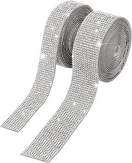 AIEX 2 Bandes Diamant Rubans Auto-Adhésifs Cristal Ruban Bling Rubans Autocollants pour Bricolage Artisanat Anniversaire C...