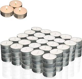 Smart-Planet® Kaarsen Ambiente - 100 stuks theelichtjes set kaars in aluminium hoes theelichtje in wit - lange brandtijd