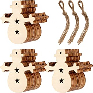Patelai 30 Pieces Wooden Snowman Cutouts Wood Snowman Ornaments with Holes and 30 Pieces Natural Twine for Christmas Tree Decoration Crafts