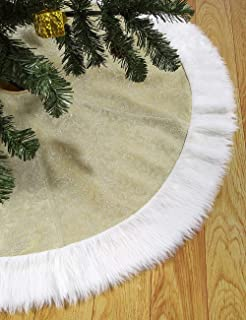 """amoHome Christmas Tree Skirt 50"""" Xmas Ornament - Holiday and New Year Party Decoration Golden"""