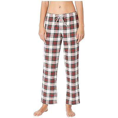 LAUREN Ralph Lauren Brushed Twill Long Sleeve Classic Notch Collar Pajama Set (Ivory Plaid) Women