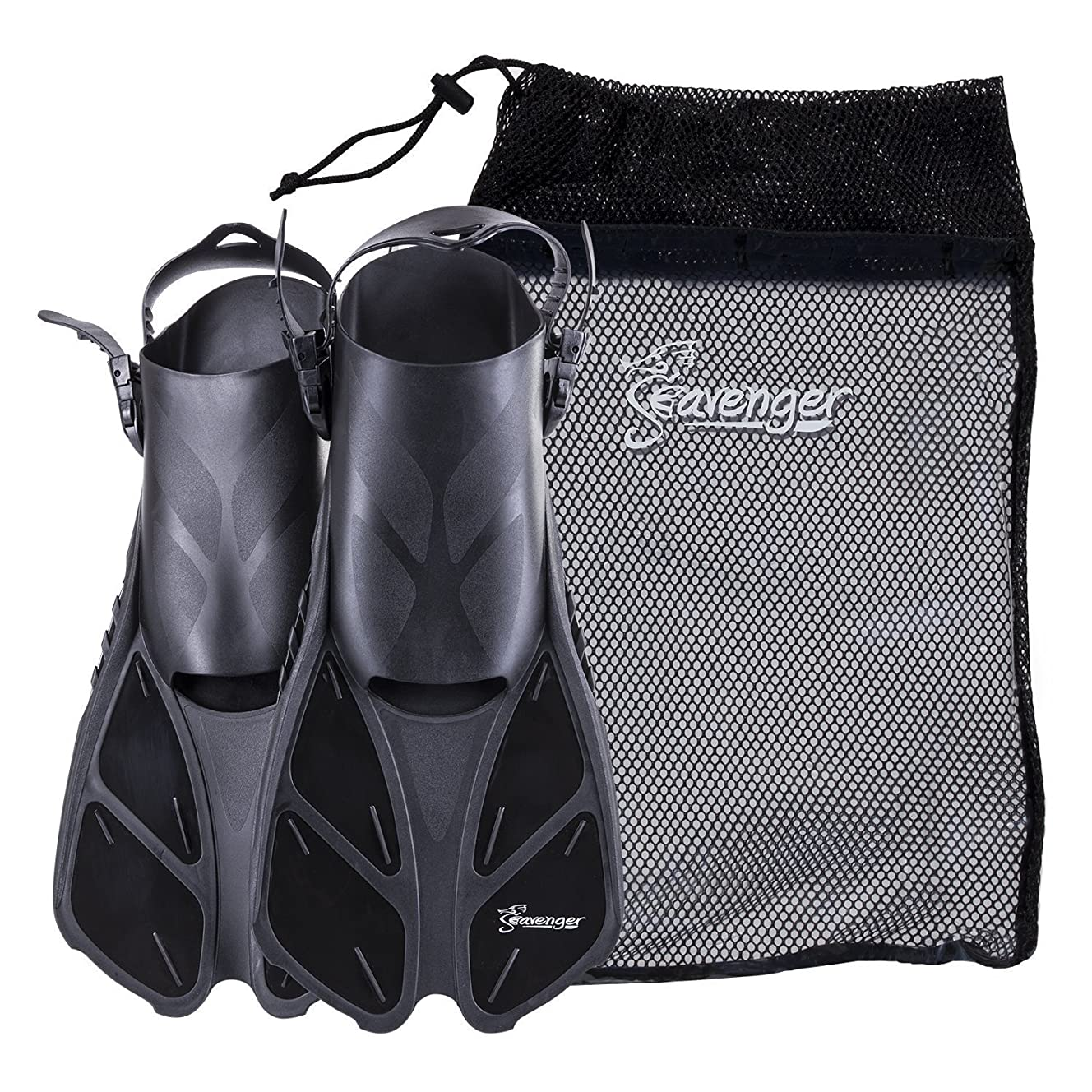 Seavenger Torpedo Swim Fins | Travel Size | Snorkeling Flippers with Mesh Bag for Women, Men and Kids