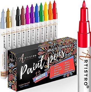 ARTISTRO marqueur acrylique stylos acryliques - 12 couleurs Marqueurs Peinture Acrylique - feutre acrylique pointe fine 0....