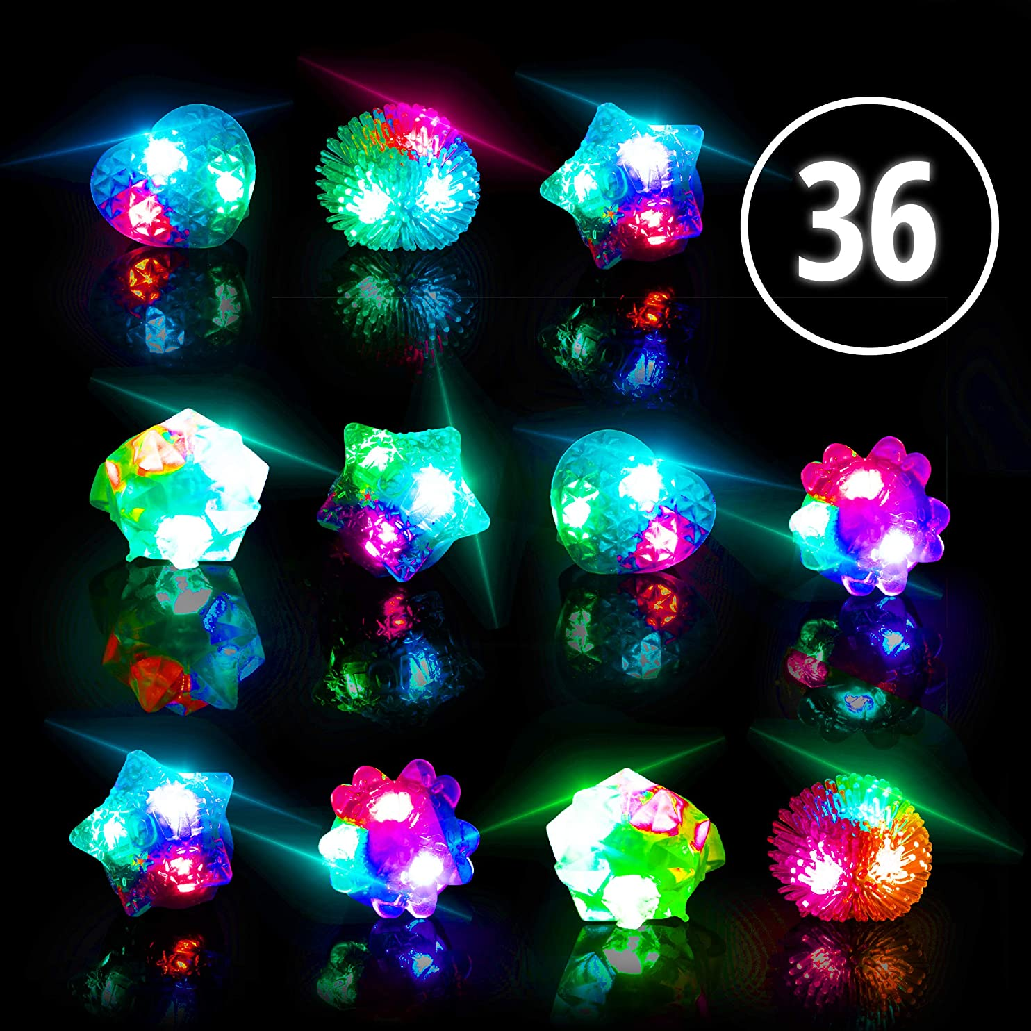 Glow Rings LED Party Favors for Kids - Light Up Jelly Rings Glow in The Dark Party Supplies, LED Finger Lights and Rave Accessories (36pk Multicolor) rgbpkhqnxys05