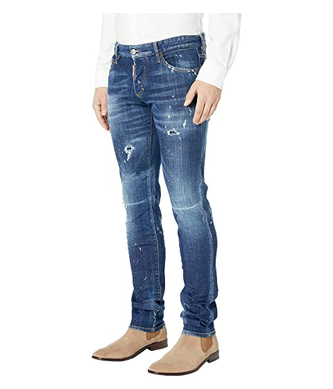 82f0c5fe378920 DSQUARED2 Dark Pink Spray Wash Slim Jeans in Blue at Luxury.Zappos.com