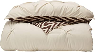Chic Home CS3206-AN 3 Piece Jacky Pinch Pleated, Reversible Chevron Print Ruffled and Pleated Complete Comforter Set Shams and Decorative Pillows Included, Twin, Beige