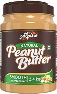 Alpino Natural Peanut Butter Smooth 2.4 KG | Unsweetened | Made with 100% Roasted Peanuts | 30% Protein | No Added Sugar |...