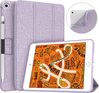 Soke iPad Mini 5 Case 2019 with Pencil Holder, Premium Trifold Case with Strong Protection, Ultra Slim Soft TPU Back Cover with Auto Sleep/Wake Function for New Apple iPad Mini 5th Gen,Violet