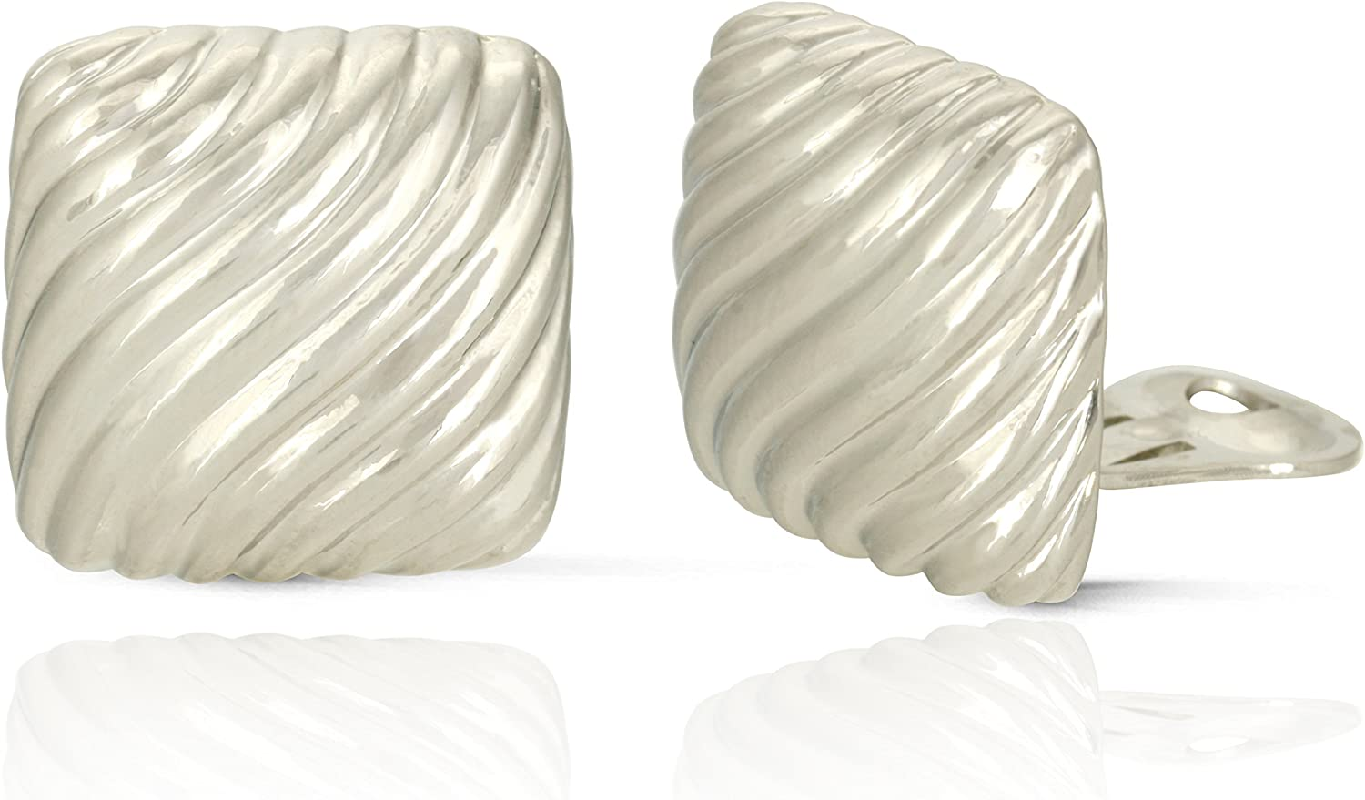 JanKuo Jewelry Rhodium Plated Square Wave Shining Polished Clip On Earrings