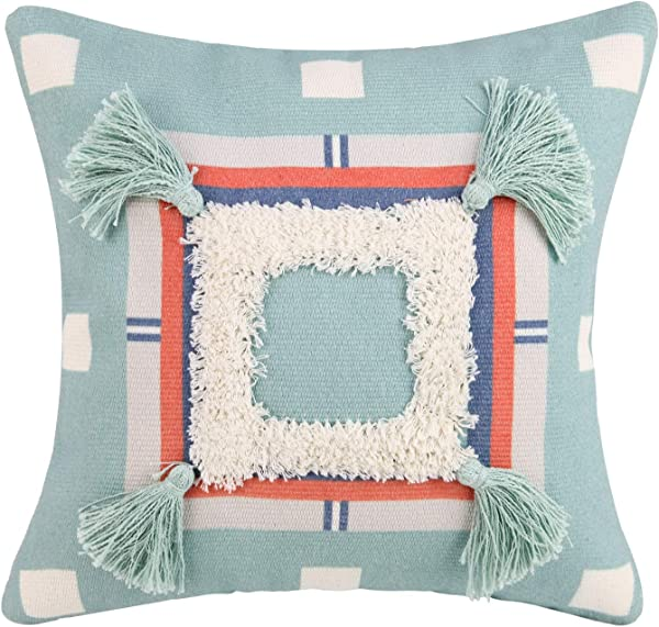 Woven Tufted Throw Pillow Cover With Tassel Digital Printing Linen Cushion Cover Sofa Couch Decorative Square Pillow Case