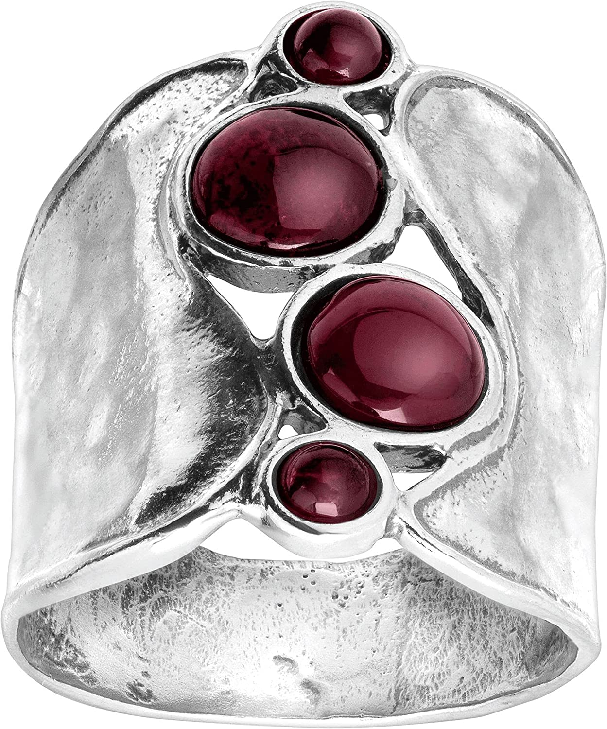 Silpada Popular overseas 'Pebbled Path' Limited time sale Natural Garnet in Sterling Ring Silver