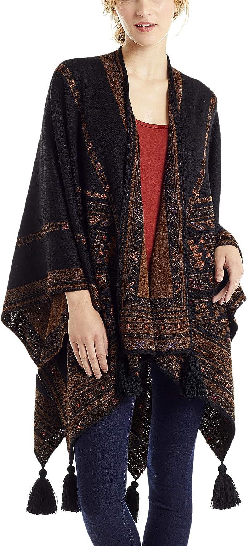 Invisible World Genuine Free Shipping Women's Ruana Charlotte Mall Reversible Wool Poncho Alpaca Baby