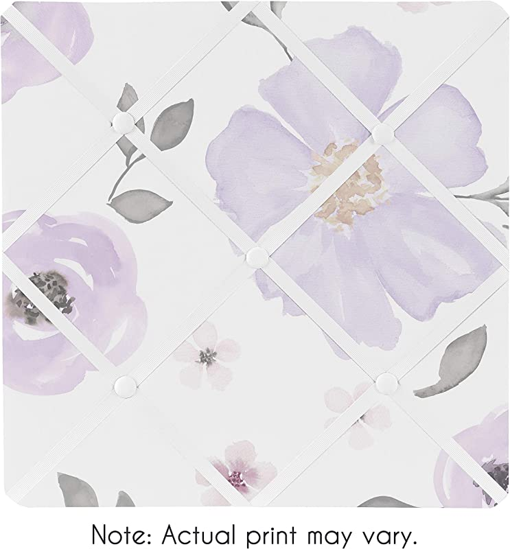 Sweet Jojo Designs Lavender Purple Pink Grey And White Fabric Memory Memo Photo Bulletin Board For Watercolor Floral Collection Rose Flower