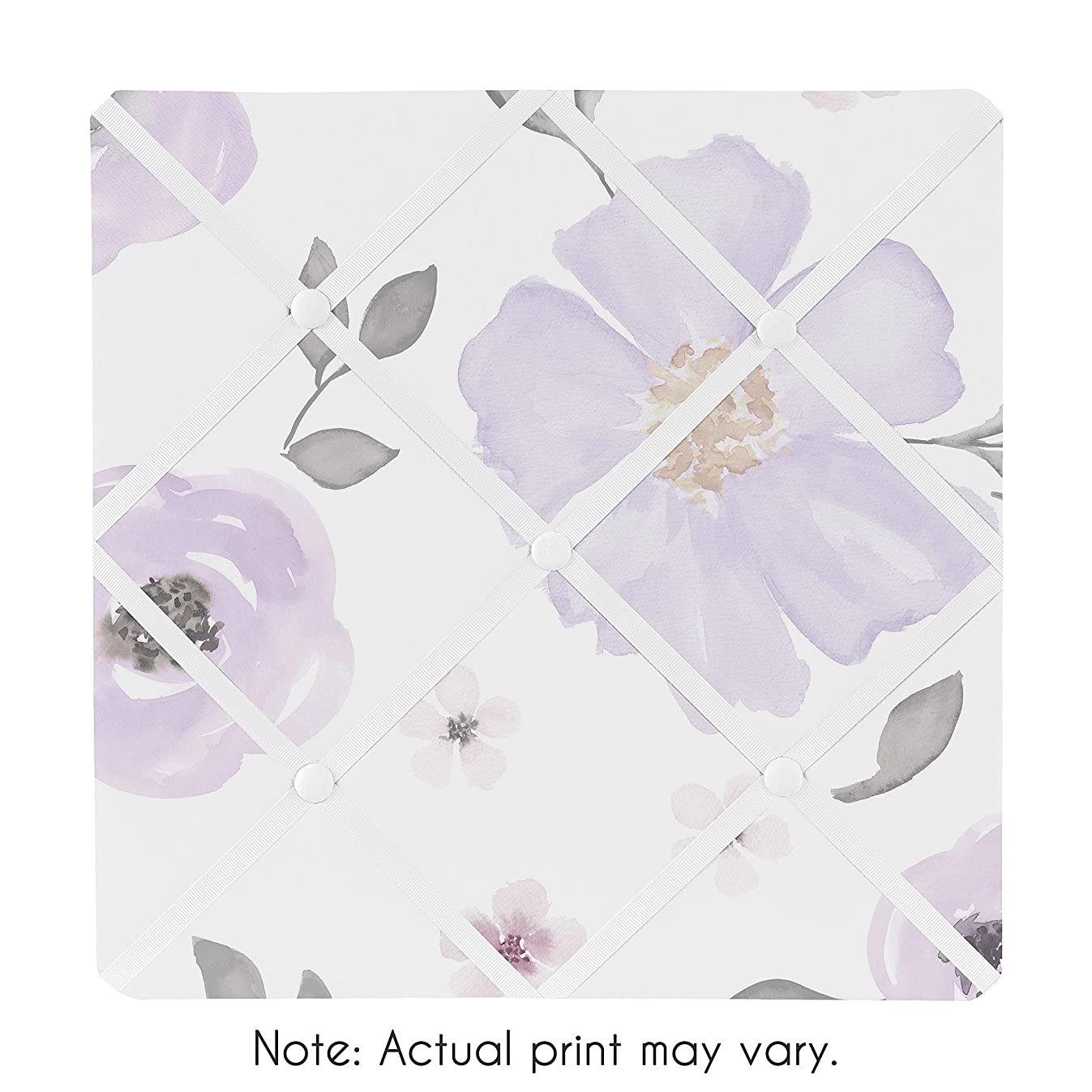 Sweet Jojo Designs Lavender Purple, Pink, Grey and White Fabric Memory Memo Photo Bulletin Board for Watercolor Floral Collection - Rose Flower