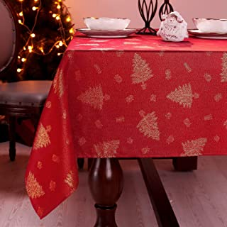Elegant Christmas Tablecloth Rectangle, Red Gold Table Cover, 60x104 Inch, Winter Polyester Table Cloth, Jacquard Fabric Christmas Tree Table Linens, Perfect for Decor Party by Lavin