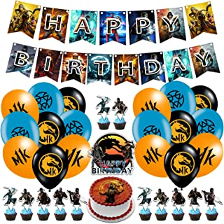 Mortal Kombat Party Decorations Mortal Kombat Birthday Party Supplies,Includes Banner,Ballons,Cake Topper,Cupcake Toppers ...