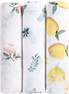 MBJERRY Muslin Swaddle Blankets for Newborn - Large 47x47 Inches Soft Receiving Blanket Pack of 3 Ideal for Baby Boys and Girls Shower Gifts (Style #1)