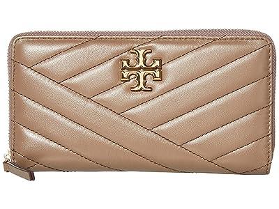 Tory Burch Kira Chevron Zip Continental Wallet (Classic Taupe) Handbags