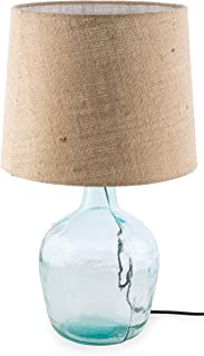 Boho Traders Recycled Glass and Jute Lamp, Clear/Natural