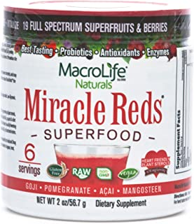 MacroLife Naturals Miracle Reds Superfood Powder - 19 Antioxidant-Rich Fruits & Berries, Polyphenols, Enzymes, Probiotics ...
