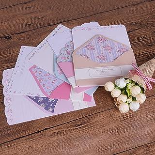 QTQYQJ 48pcs Cute Letter Writing Stationery Paper Set(32 Stationery Papers +16 Envelope) Exquisite Flower Envelope Design ...