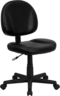Flash Furniture Mid-Back Black LeatherSoft Swivel Ergonomic Task Office Chair with Back Depth Adjustment