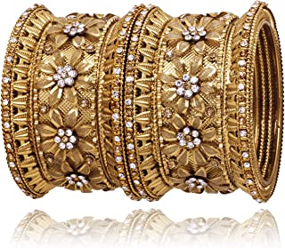 Sanara Indian Bollywood Antique Gold Plated Exclusive 6 pcs Women Metal Bangle Set Flower Design Bracelet Jewelry