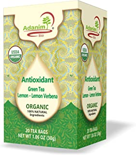 Adanim Bio Organic Green Tea with Lemon and Verbena, Antioxidant Rich with Caffeine, 20 Count, Pack of 4, 80 Individual En...