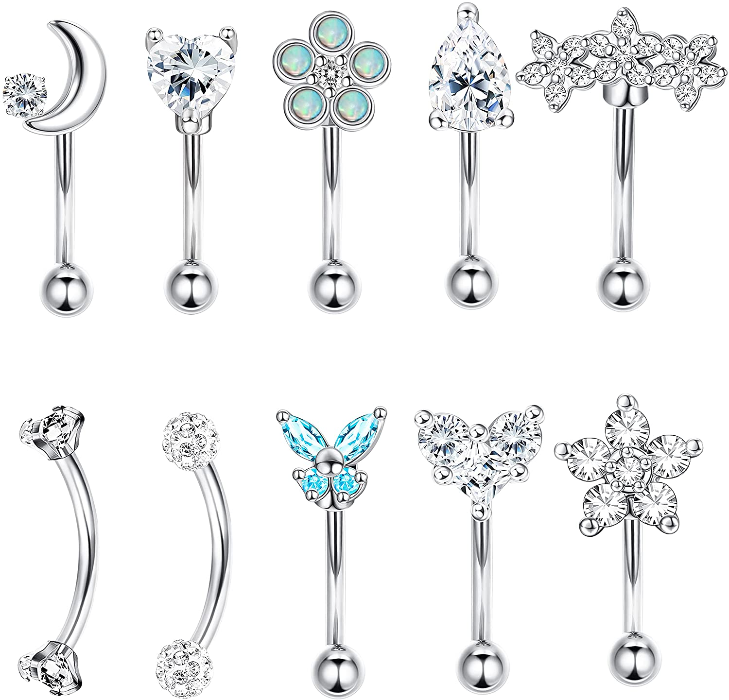THUNARAZ 16G Rook Daith Earrings for Women Surgical Steel 6mm Eyebrow Rings Inlaid CZ Opal Turquoise Belly Lip Ring Cartilage Surface Tragus Piercing Jewelry 10 Pcs