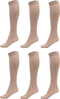 f9dc41e09 6 Pack of Women Trouser Socks with Comfort Band Stretchy Spandex Opaque  Knee High