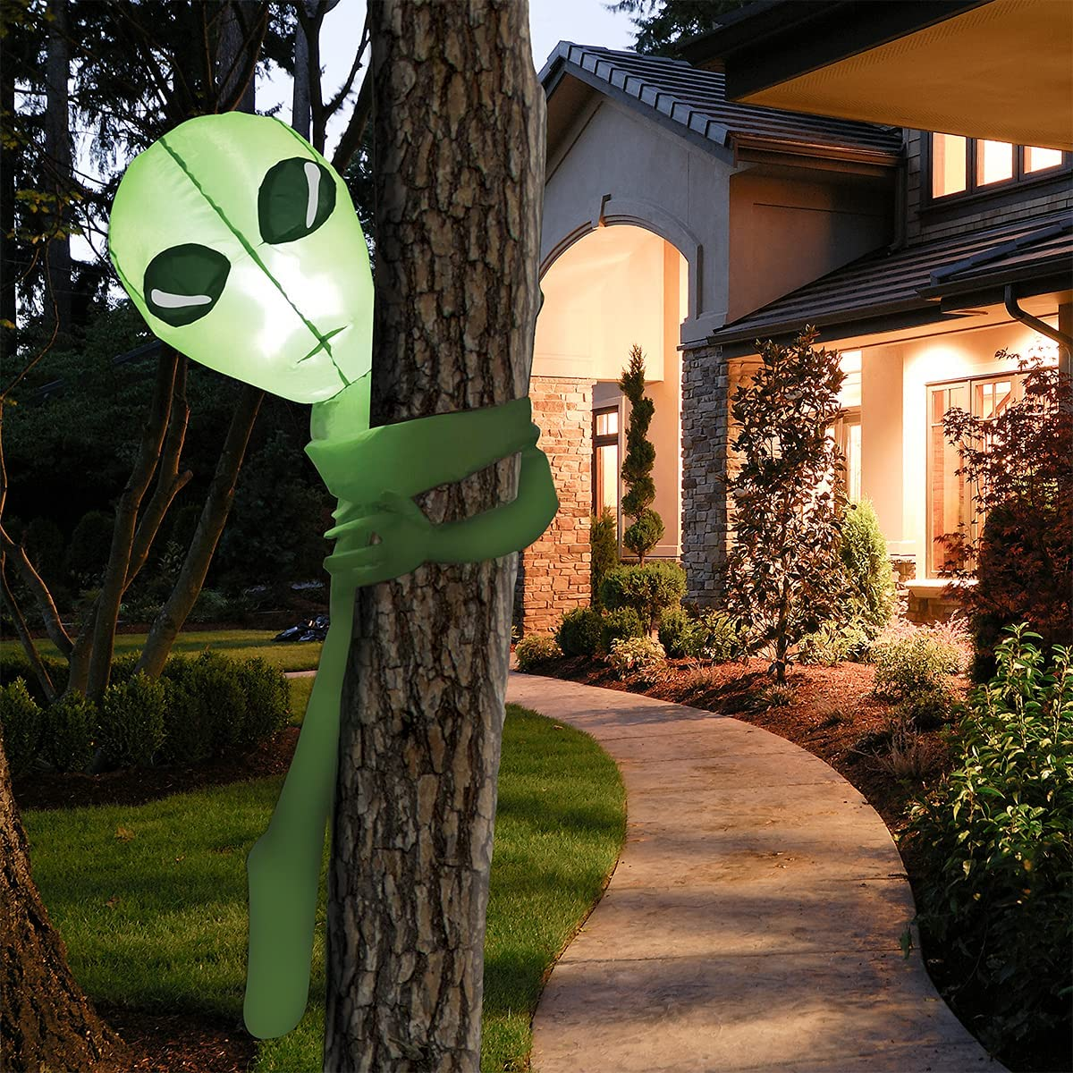 Joiedomi 4 FT Tall Halloween Inflatable Alien Tree Hugger Inflatable Yard Decoration with Build-in LEDs Blow Up Inflatables for Halloween Party Indoor, Outdoor, Yard, Garden, Lawn Decorations