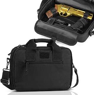 Savior Equipment Tactical Double Handgun Firearm Case Discreet Pistol Bag - Additional Magazine Storage Slots, Lockable Compartment w/Adjustable Shoulder Strap