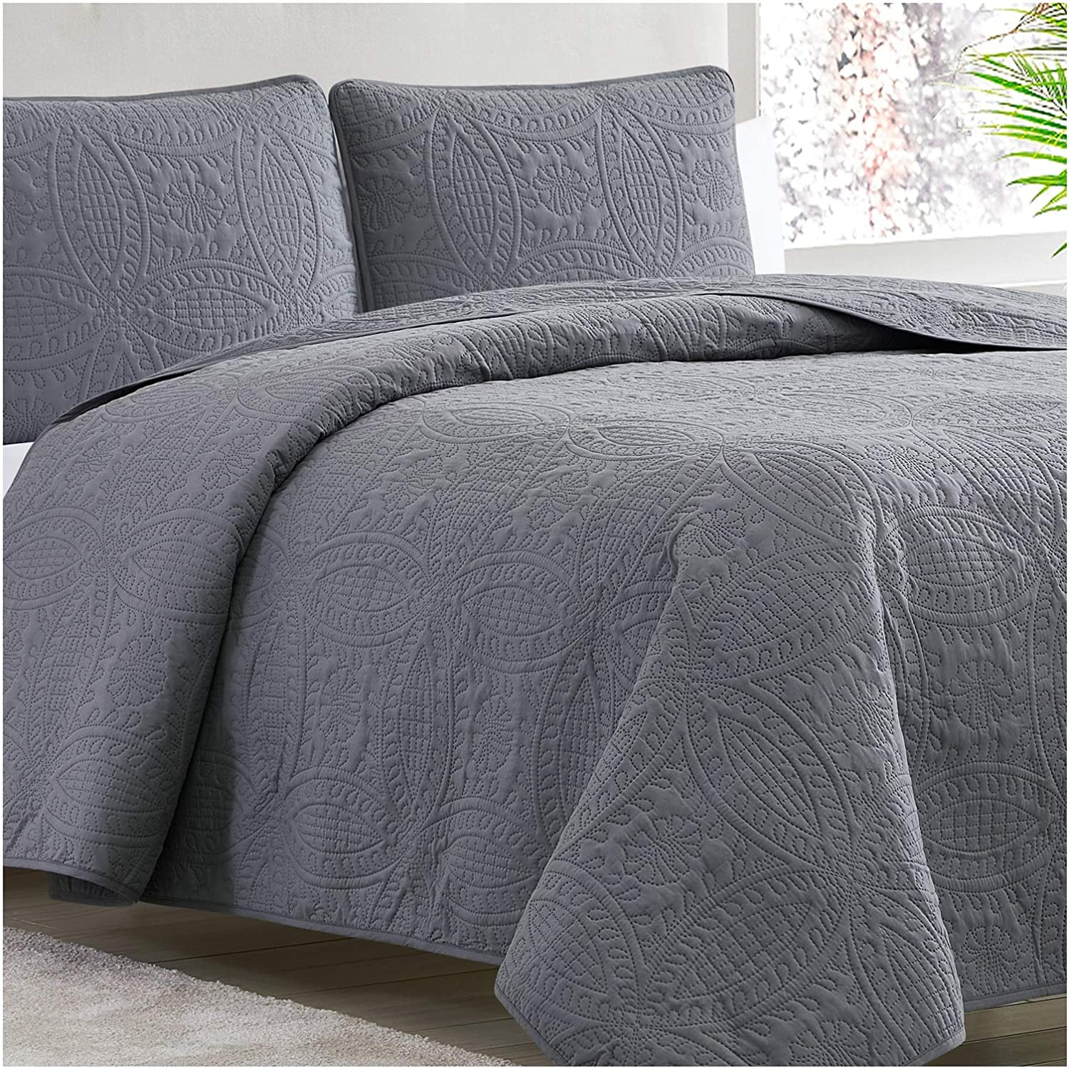 Mellanni Bedspread Coverlet Set Charcoal Bedding Cover SEAL limited product Overs - Fashionable