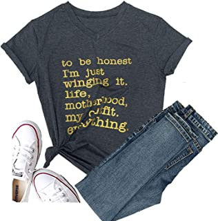 Women to Be Honest I'm Just Winging it Life Halloween T-Shirt Short Sleeve Sport Mother mom Tops Tee