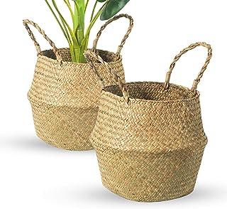 BrilliantJo Lot de 2 Paniers de Rangement Tissés, Pots de Fleurs Naturels Faits à la Main, Paniers à Linge avec Poignées B...