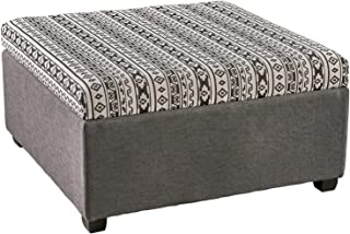 Christopher Knight Home Malloy Fabric Storage Ottoman, Black and White Print and Dark Gray