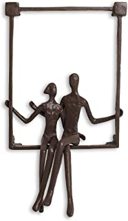 Danya B. ZI15214 Hanging Metal Wall Art Iron Sculpture - Couple Sitting on a Window Sill