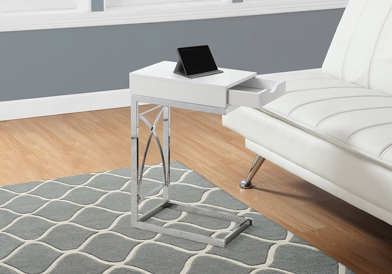 Monarch Specialties I 3170 Accent Table with A Drawer, Glossy White